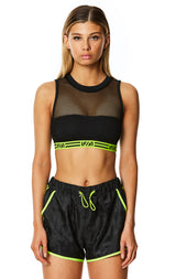 DIGITAL NEON NET CROP TOP