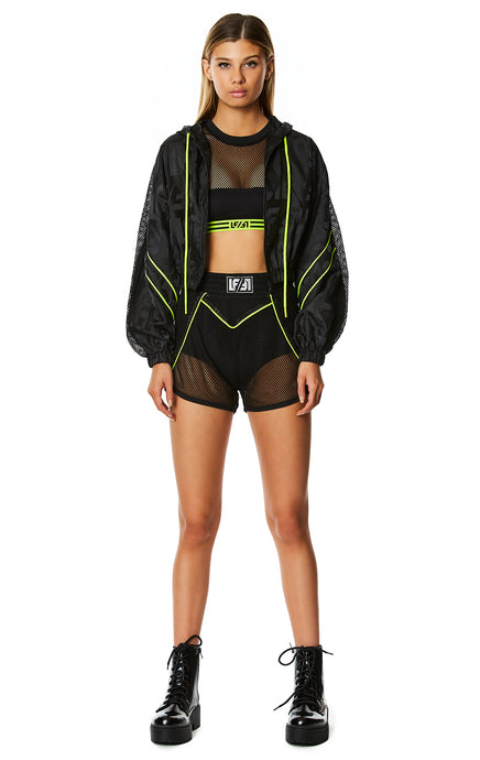DIGITAL NEON LOGO PATCH NET SHORT