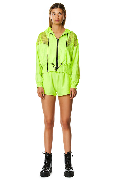 DIGITAL NEON NET INSERT HOODED JACKET
