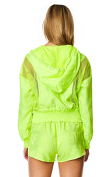 NET INSERT HOODED JACKET