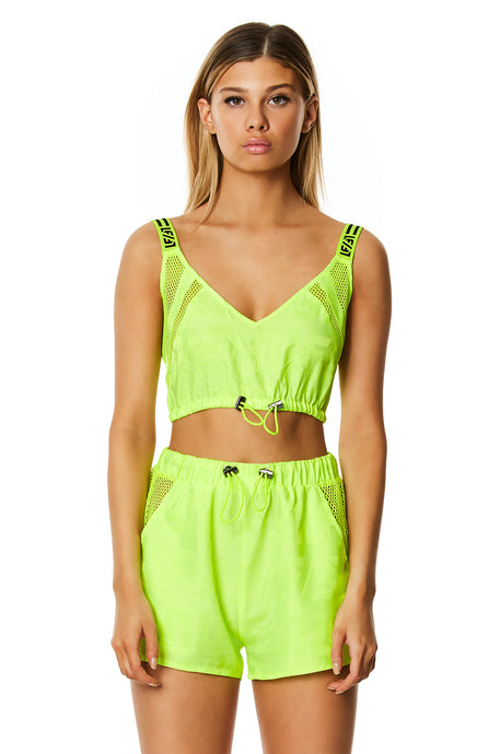 DIGITAL NEON WINDBREAKER BUNGEE BRA TOP