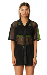 DIGITAL NEON NET BUTTON-DOWN SHIRT