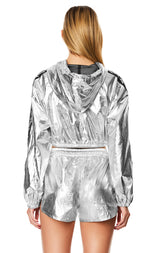 METALLIC SILVER HOODED CROP WINDBREAKER JACKET