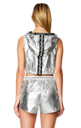 METALLIC SILVER LADDER CUTOUT WINDBREAKER SHORT