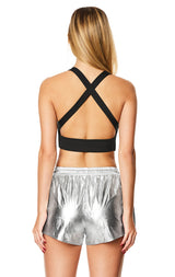 METALLIC SILVER PEEK-A-BOO BRA TOP