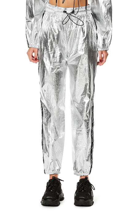 METALLIC SILVER TRACK PANT WITH BRANDED TAPE