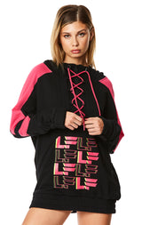 240 BUNGEE LACE UP CONTRAST PULLOVER SWEATSHIRT