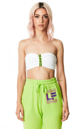 DIGITAL NEON CINCHED TUBE TOP WITH LF TAPE