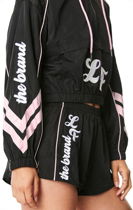WINDBREAKER JACKET WITH CHEVRON AND EMBROIDERY