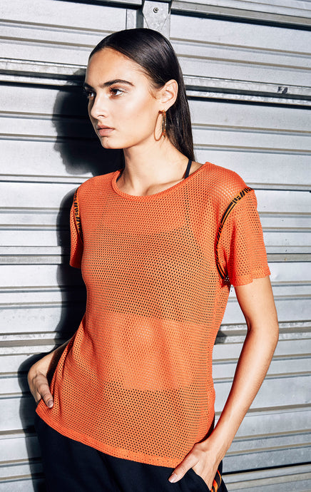 SHORT SLEEVE NETTING TEE WITH LF TAPE