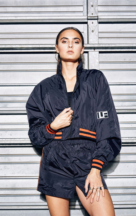 CROP WINDBREAKER WITH ATHLETIC RIBBING