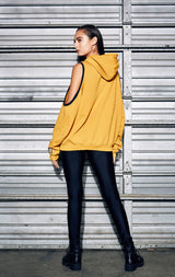 CUT OUT SHOULDER CONTRAST DISTRESSED SWEATSHIRT