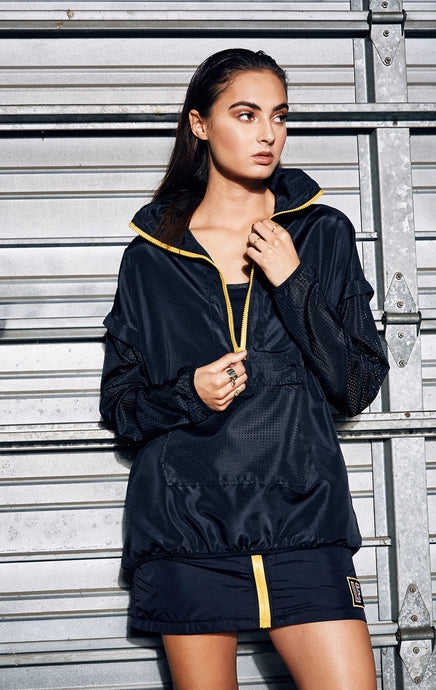 PULLOVER WINDBREAKER WITH CONTRAST ZIPPER