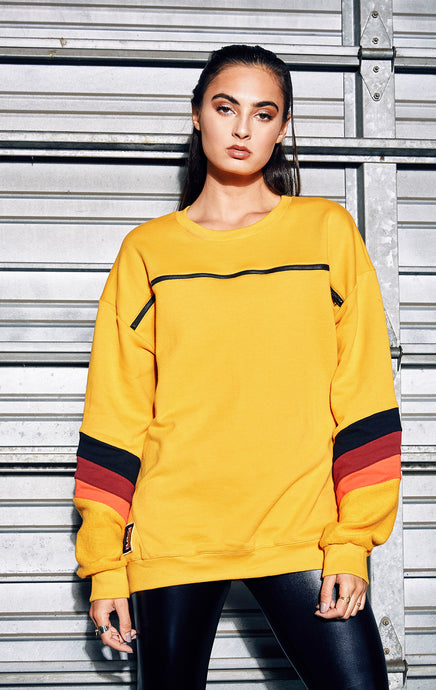 HORIZONTAL ZIP COLORBLOCK SWEATSHIRT