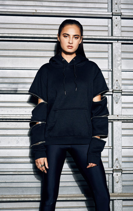 PULLOVER HOODIE WITH 3 ZIPPERS