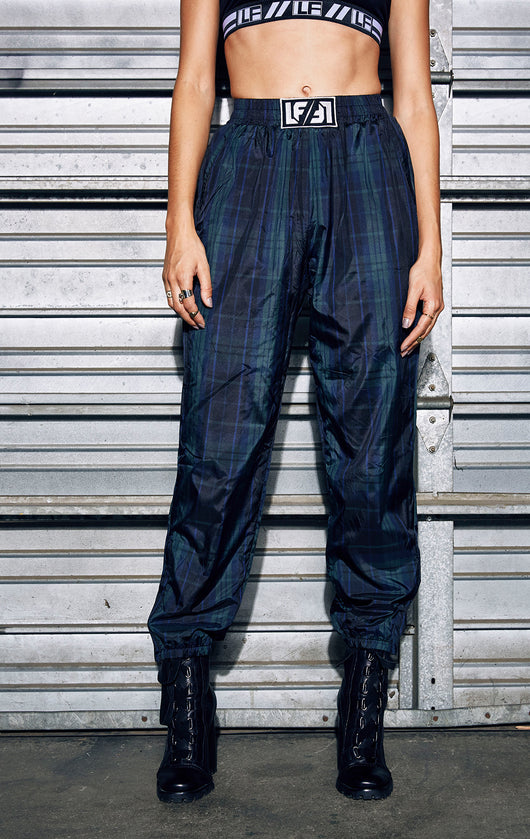 PLAID WINDBREAKER TRACK PANT
