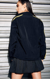 PULLOVER WINDBREAKER WITH YELLOW AND MESH SLEEVE CONTRAST