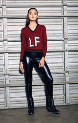LONG SLEEVE V NECK SWEATER WITH LF FRONT