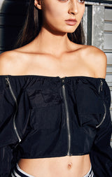 OFF THE SHOULDER CROP WINDBREAKER WITH 3 ZIPPER FRONT