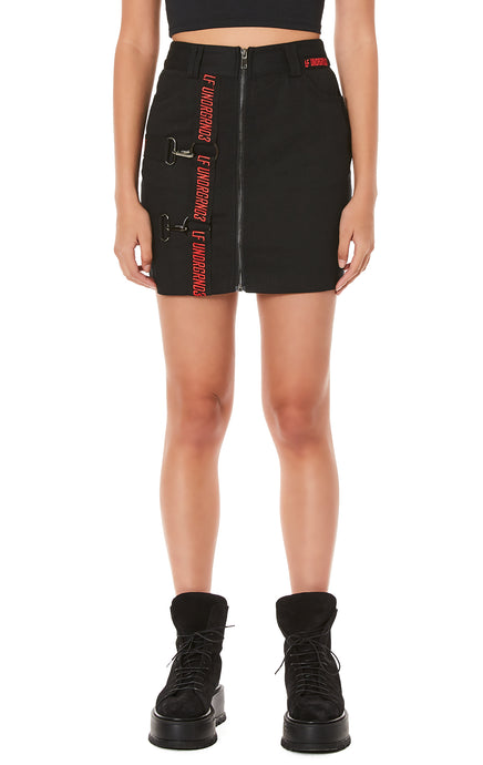 ZIP FRONT SKIRT WITH HORIZONTAL AND VERTICAL SUSPENDERS
