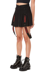 PLEATED ZIP FRONT SKIRT WITH SUSPENDERS