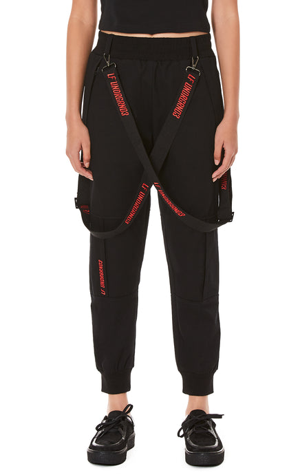 JOGGER PANTS WITH EMBROIDERED SUSPENDERS