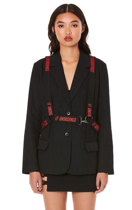 JACKET WITH EMBROIDERED SUSPENDER HARNESS