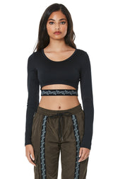 MIDRIFF CUTOUT LONG SLEEVE TEE