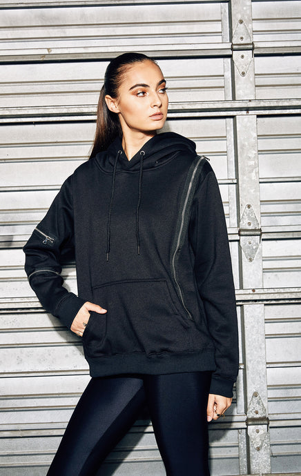 PULLOVER HOODIE WITH EXPOSED ZIPPERS