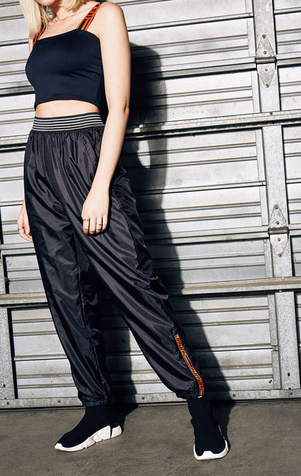 WINDBREAKER TRACK PANT WITH SHEER STRIPE WAISTBAND