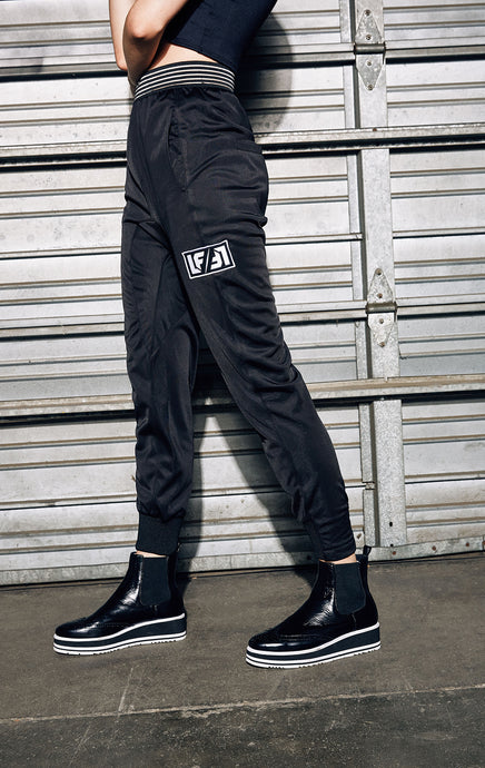 ATHLETIC TRACK PANT WITH SHEER STRIPE WAISTBAND