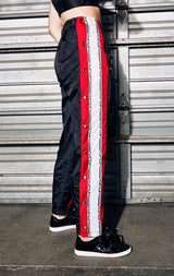 SNAP BUTTON TRACK PANT WITH LF WHITE TAPE