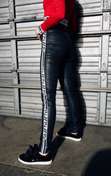 BLACK WAX HIGH RISE SKINNY JEAN WITH LF TAPE