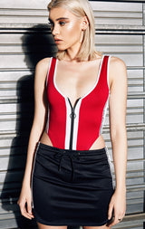 COLOR BLOCK ZIP FRONT BODYSUIT
