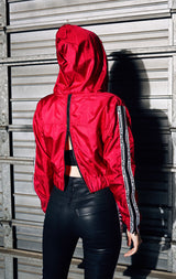 CROP WINDBREAKER WITH ZIPPER SLEEVES
