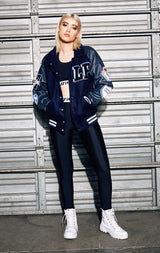 LEATHER VARSITY JACKET WITH COLLAR AND PATCHES