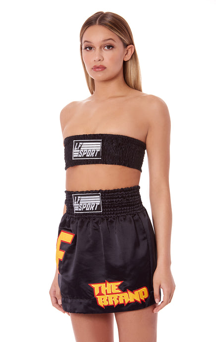 BOXER SMOCKED TUBE TOP WITH LF SPORT PATCH