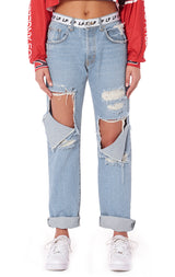 MOTORSPORT BAGGY JEAN WITH LF TAPE WAISTBAND