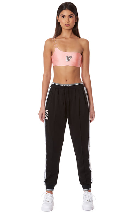 CONTRAST RIB ATHLETIC PANT WITH LF TAPE AND SCREEN PRINT