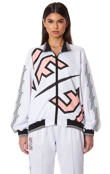 STARTER CONTRAST RIB ZIP UP JACKET WITH LF TAPE AND SCREEN PRINT