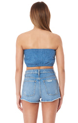 CHAMBRAY TUBE TOP WITH CENTER LF TAPE