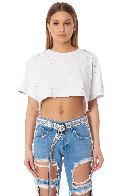 STARTER OVERSIZE CROP TEE WITH CONTRAST LF LOGO TAPE