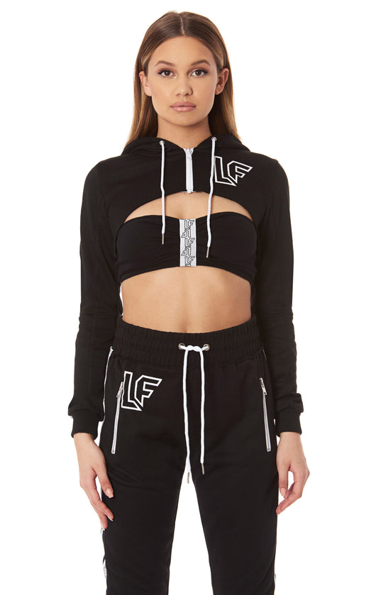 ULTRA CROPPED ZIP UP HOODIE WITH LF SCREEN PRINT AND TAPE