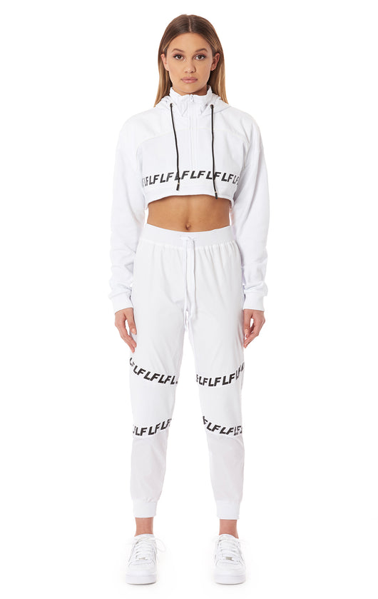 FITTED JOGGER TRACK PANT WITH RIBBED PANEL AND LF SCREEN PRINT