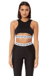 SLEEVELESS MIDRIFF CUT OUT LF BLOCK ELASTIC BAND TEE