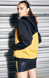 COLOR BLOCK HOODIE WITH DIAGONAL TAPE
