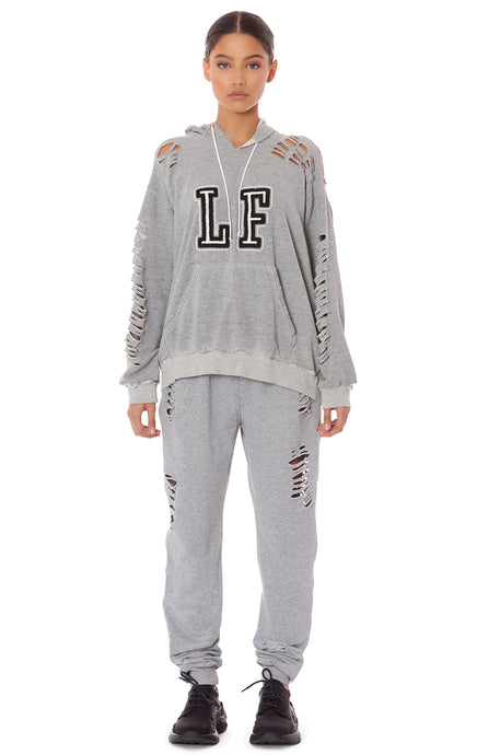 DISTRESSED SWEATPANT WITH GREY LF TAPE