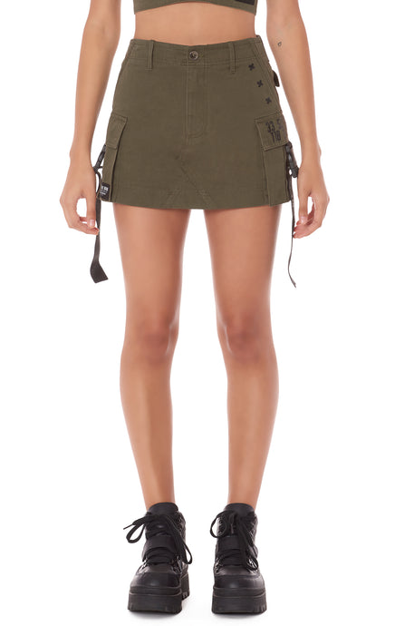CARGO POCKET SKIRT WITH LF TAPE AND BUCKLES