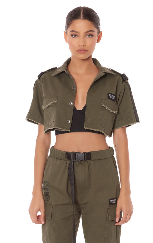CROPPED BOY SCOUT SHIRT WITH TAPE