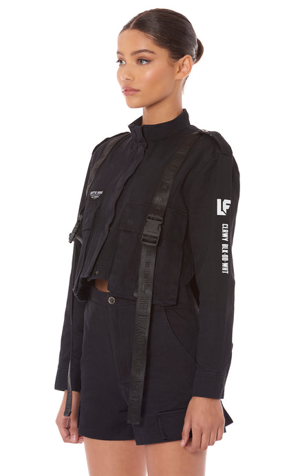 CARGO POCKET JACKET WITH TAPE AND BUCKLES